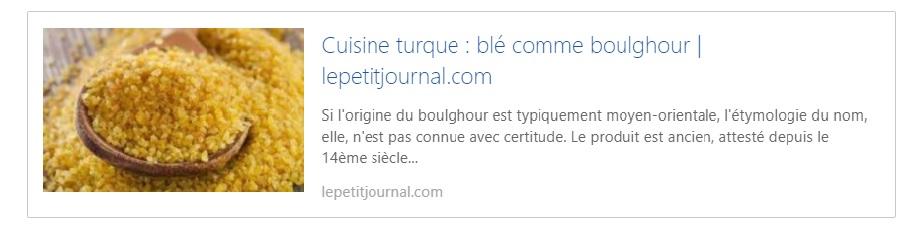 Lepetitjournal.com - Cuisine turque : blé comme boulghour